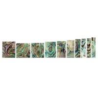 Perlmutter-Griffbrett-Einlagen, Satz, 10-teilig, Paua geflammt
