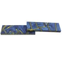 Plaquettes de manche acryliques, bleu océan/jaune