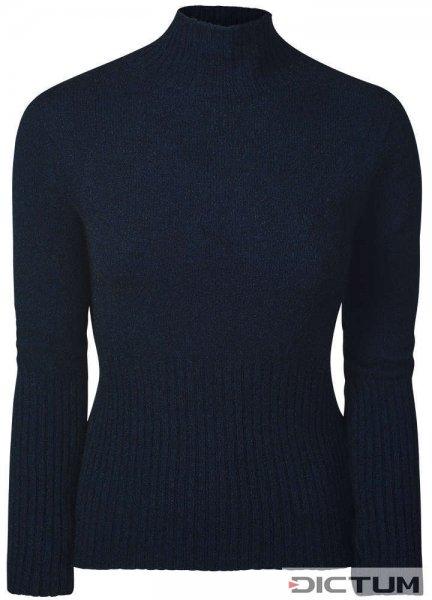 Damen Rip-Pullover Merino-Possum, Blau-Melange, Größe 34