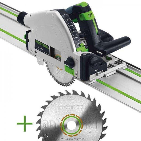 SET: Festool Tauchsäge TS 55 REBQ-Plus-FS 1400/2 + extra Universal-Sägeblatt W28