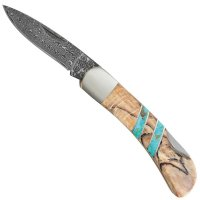 Mini Damascus Folding Knife, Beech