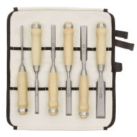 DICTUM Chisel, Long Pattern, 6-Piece Set, in a Cotton Tool Roll