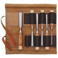 Ciseaux à bois DICTUM, poignée écorce de bouleau, en trousse en cuir, 6 pièces