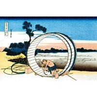 """Gravure sur bois colorée japonaise """"Fujimigahara dans la province d'Owari"""""""