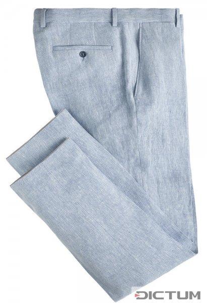 Herrenhose Irisches Leinen, hellblau-weiß, Größe 48