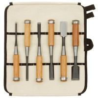 Ciseaux à bois Tataki Nomi, jeu de 6 pièces dans sacoche enroulable en coton