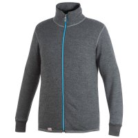 Cardigan Woolpower, gris/turquoise, 400 g/m², taille XS