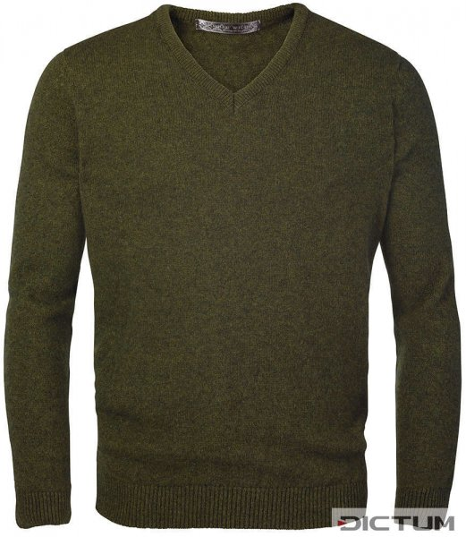 Possum Merino Men's V-neck Sweater, Olive Melange, Size XL