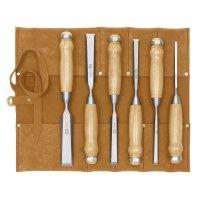 Ciseaux à bois DICTUM, forme longue, 6 pièces, en sacoche roulable en cuir