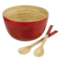 Bamboo Bowl with Salad Servers, Red