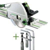 SET: Festool Plunge-cut Saw TS 75 EBQ-Plus-FS + 2 Fastening Clamps FSZ 120