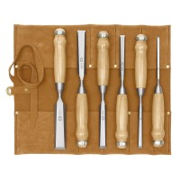 DICTUM Chisel, Long Pattern, 6-Piece Set, in a Leather Tool Roll