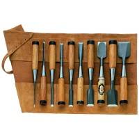 HSS Chisels for Cabinetmakers, 10-Piece Set in Leather Tool Roll