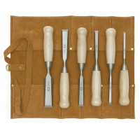 DICTUM Chisel, Short Pattern, 6-Piece Set, in a Leather Toll Roll
