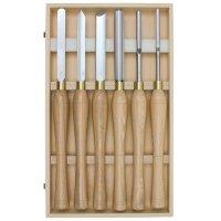 Jeu d'outils grands de tournage sur bois en acier rapide Hattori, 6 pièces