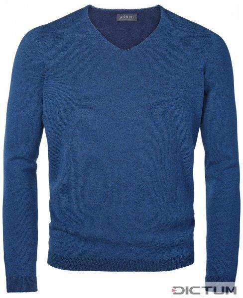 Seldom Men's Sweater V-neck, Medium and Dark Blue, Size S