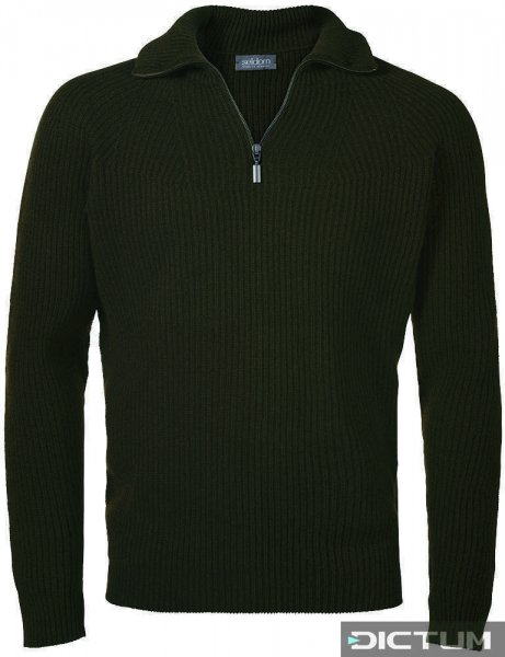 Seldom Men's Half-zip Sweater, Half Cardigan Stitch, Olive, Size S