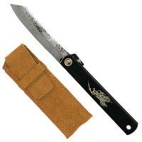 Folding Knife Higo-Style Kuro, incl. Leather Sheath