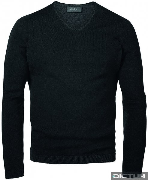 Seldom Men's Sweater V-neck, Black/Grey, Size L
