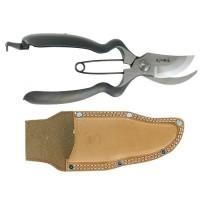 Sécateur à branchages ergonomique avec étui en cuir