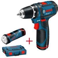 Bosch Cordless Drill/Driver GSR 10,8-2-Li, Worklight GLI 10.8 V-Li, 2.0 Ah