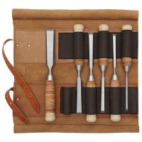 DICTUM Paring Chisels with Birch Bark Handle, 6-Piece Set, Leather Tool Roll