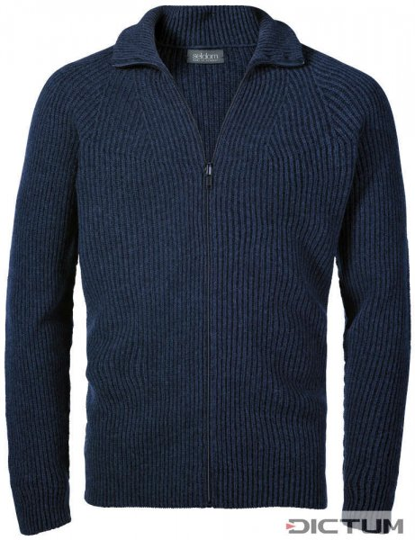 Seldom Men's Cardigan, Half Cardigan Stitch, Dark Blue, Size S