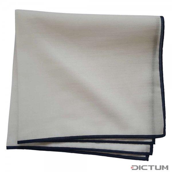Taschentuch mit dunkelblauem Rand, Baumwolle, weiß