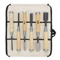 Ciseaux à bois DICTUM Oire Nomi, jeu de 6 pièces en sacache en coton