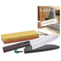 Set débutant, couteaux japonais, pierre à aiguiser combinée Fasicule d'Affûtage