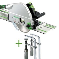 SET: Festool Plunge-cut Saw TS 75 EBQ-Plus-FS + 2 Fastening Clamps FSZ 120