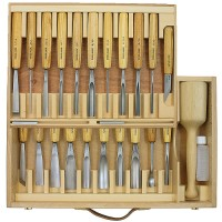 Pfeil Carver's Set with Ash Handles, 25-Piece Set, Wooden Case