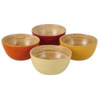 Bambus Schüssel Set, rot, orange, gelb, creme