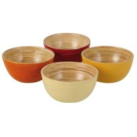 Bamboo Bowl Set, Red, Orange, Yellow, Cream