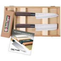 Set de couteaux japonais avec pierre à aiguiser combinée et DVD d'affûtage