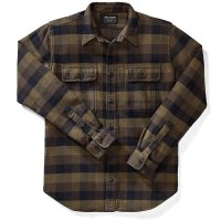 Filson Vintage Flannel Work Shirt, Brown/Navy, taglia L