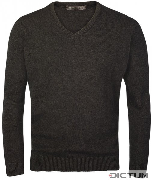 Possum Merino Men's V-neck Sweater, Dark Brown Melange, Size XL