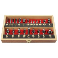 TC Router Bits in Wooden Case, Shank Ø 8 mm, 22-Piece Set