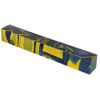 Acrylic Pen Blank, Ocean Blue/Yellow