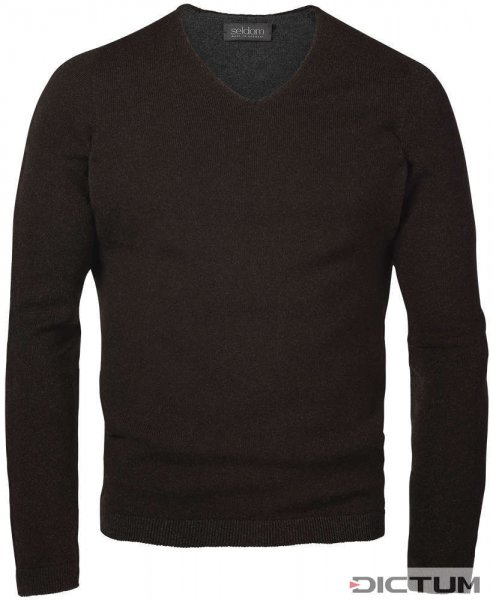 Seldom Men's Sweater V-neck, Brown/Grey, Size S
