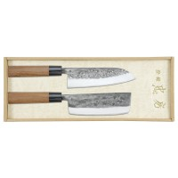 Tadafusa Hocho Nashiji, 2-Piece Set, Santoku and Usuba