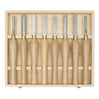Jeu d'outils moyens de tournage sur bois en acier rapide Hattori, 8 pièces