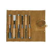 Tataki Nomi, Chisels, 6-Piece Set  in a Leather Tool Roll