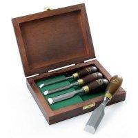 Mini-ciseaux à bois Crown, poignée en hêtre teinté, jeu de 4 pièces