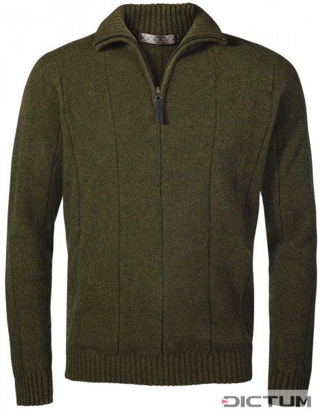 Herren Zip-Pullover Merino-Possum, Oliv-Melange, Größe M