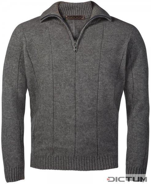 Herren Zip-Pullover Merino-Possum, Grau-Melange, Größe M