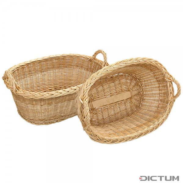 Oval Laundry Basket Made of Peeled White Willow