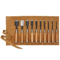 Tataki Nomi, Chisels, 10-Piece Set  in a Leather Tool Roll