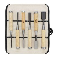 DICTUM Oire Nomi, Chisel, 6-Piece Set in a Cotton Tool Roll