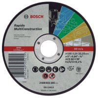 Bosch Disque à tronçonner à moyeu plat Rapido Multi Construction, 125 mm